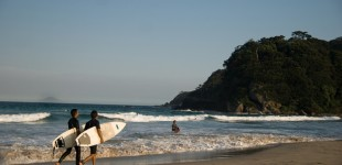 Early evening surfers